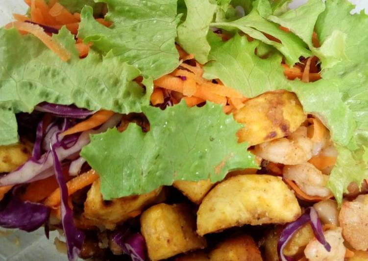 Recipe of Speedy Beans, Fried Plantain with Spiced Shrimps