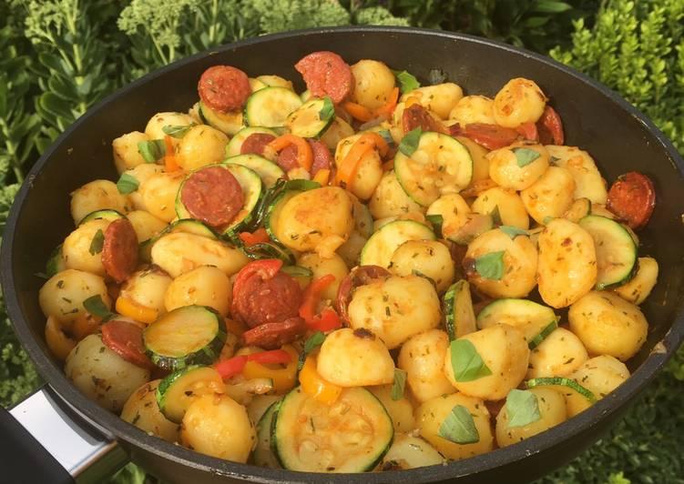 Kartoffelgemüsepfanne mit Chorizo