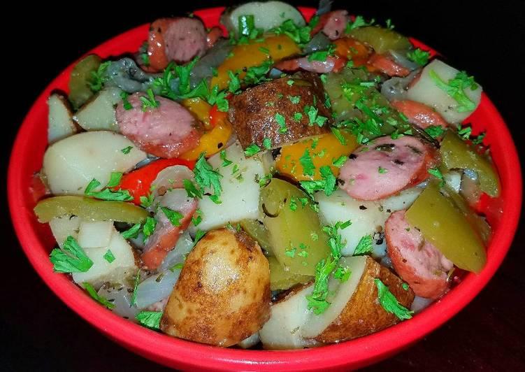 Mike's Peppered Potato Onion Sausage Bake