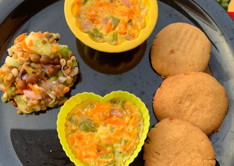 Step-by-Step Guide to Make Super Quick Homemade Egg muffin peanut butter cookies and brown chana sprout salad