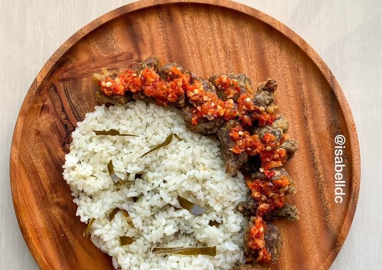 36. Nasi Daun Jeruk (Rice Cooker) + Daging Sapi Sambal Korek #GlutenFree