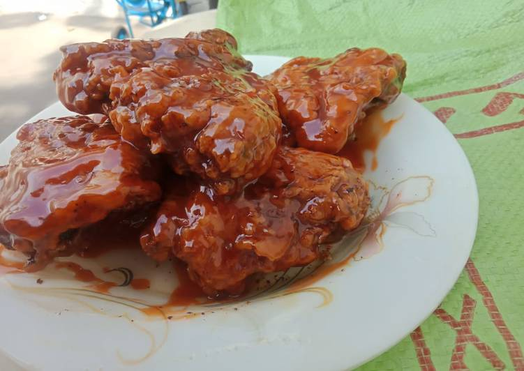 Recipe of Ultimate Crisp Chicken with Korean Sauce..