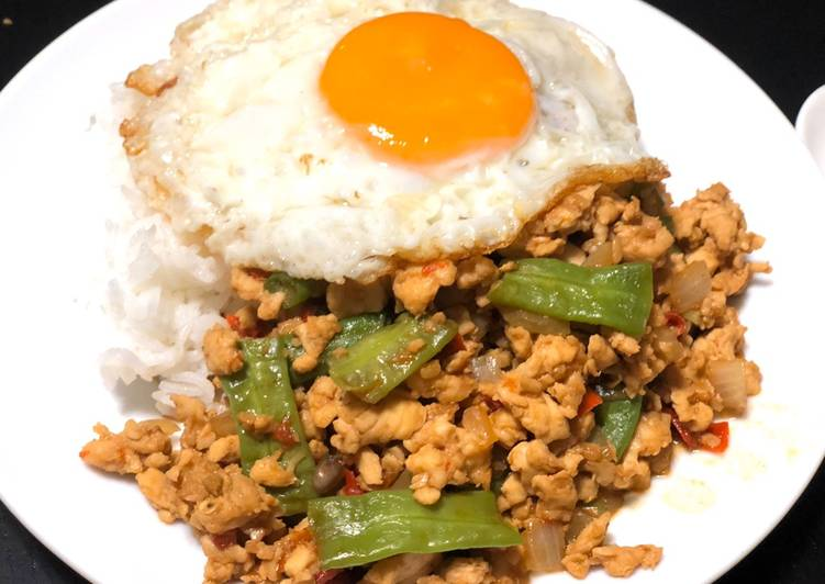 Pad Gaprao (Pad Kra Pao) ผัดกะเพรา Chicken Stir-Fry with Holy Basil