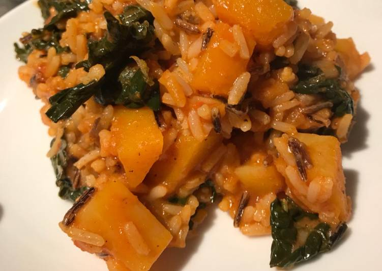 Step-by-Step Guide to Prepare Speedy Butternut squash curry with long grain and wild rice