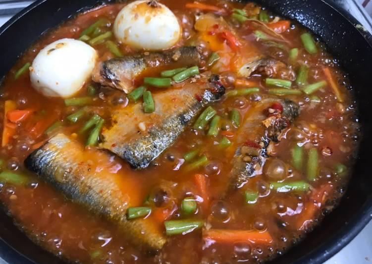 Telur & sayur masak sarden pedas