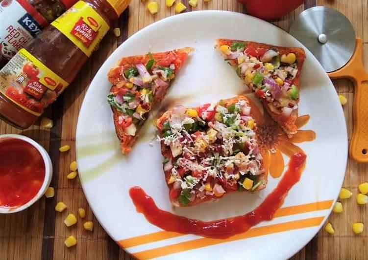 Recipe of Homemade Tawa SweetCorn Bread Pizza