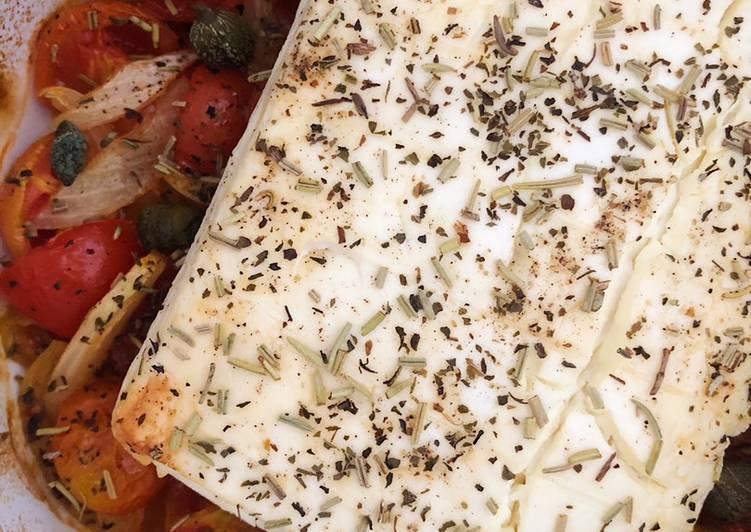 Ricetta Feta al forno con pomodorini e cipolle