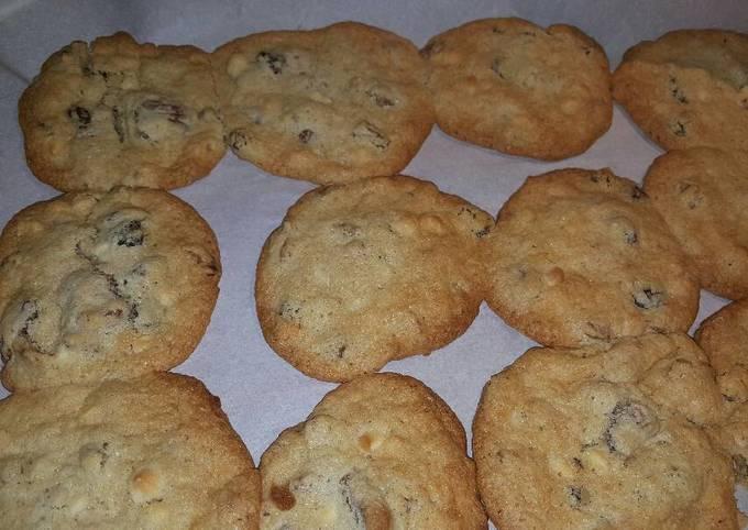 Raisins,white chocolate, pecan, and crown royal cookies