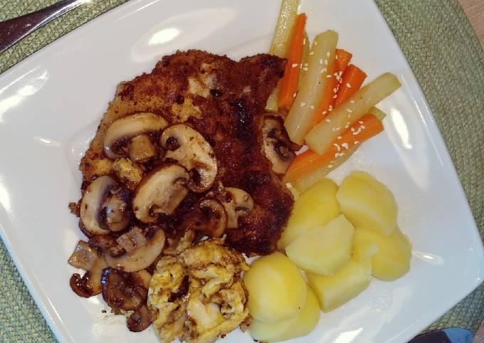 Der einfache Weg Um Schnell Gewinnende Ein paniertes Kotelett mit leicht scharfen Ingwer-Honig-Gemüse zuzubereiten