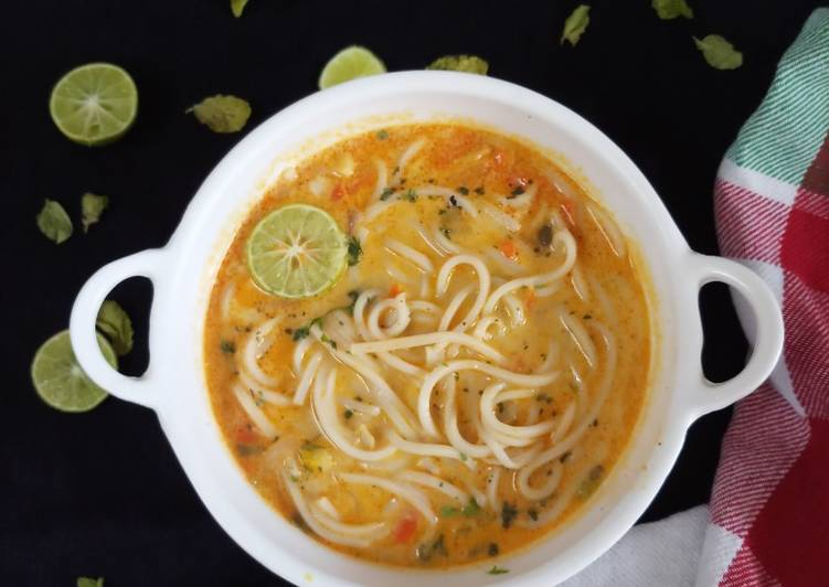 Thai noodle soup with desi tadka