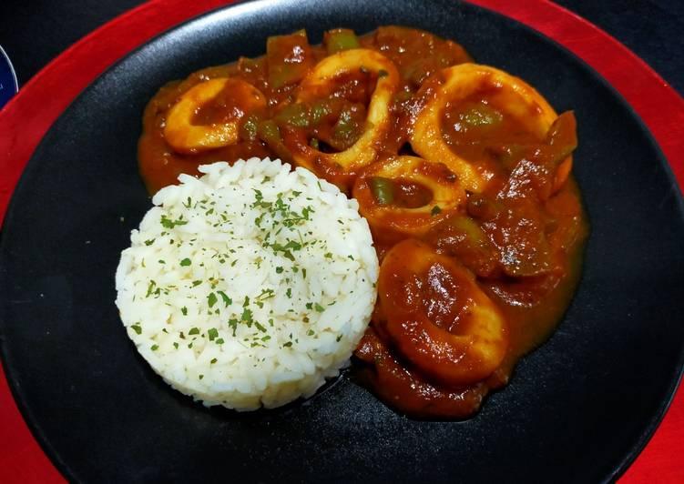 Comment Préparer Des Lamelles d'encornets aux poivrons en sauce tomate