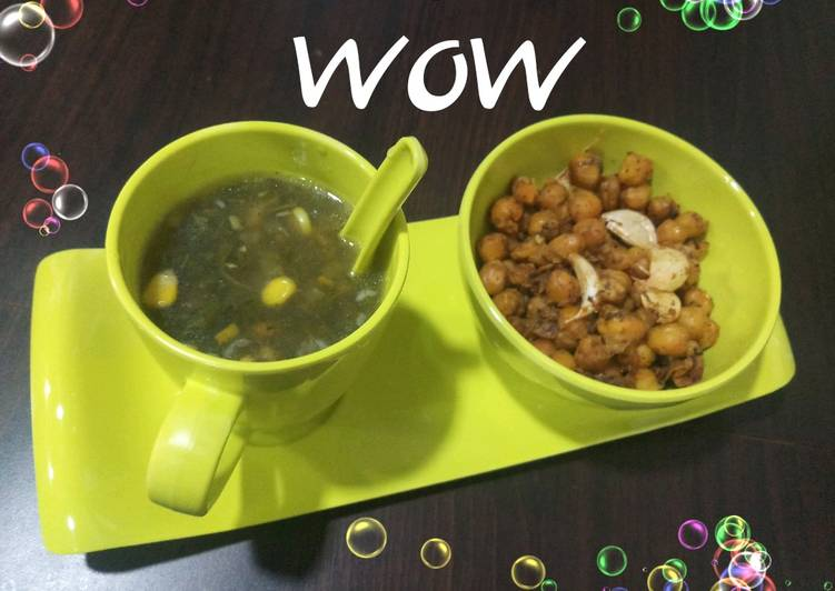 Lemon Coriander corn soup & garlic chana