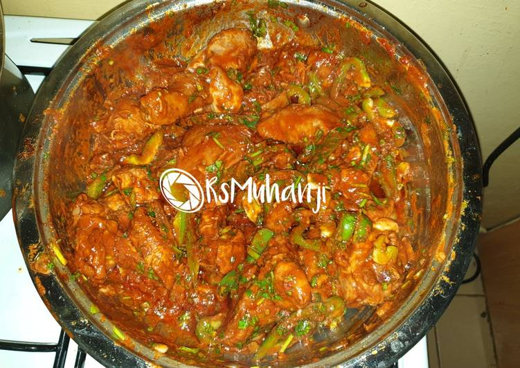 Spicy chicken in a pan