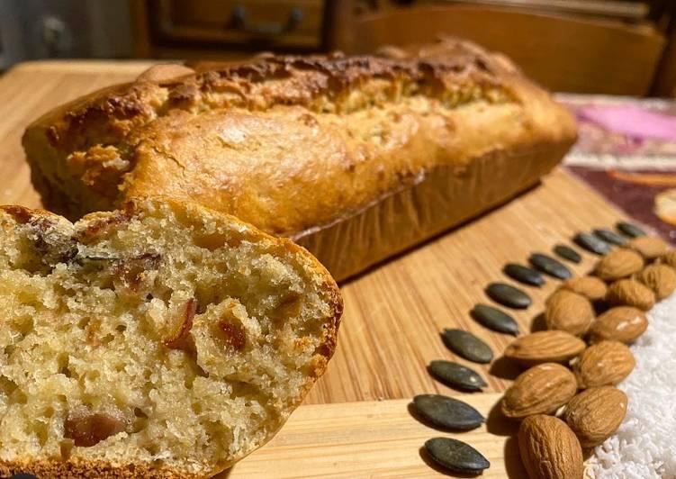 Recette: Banana bread dattes/coco et graines de courge