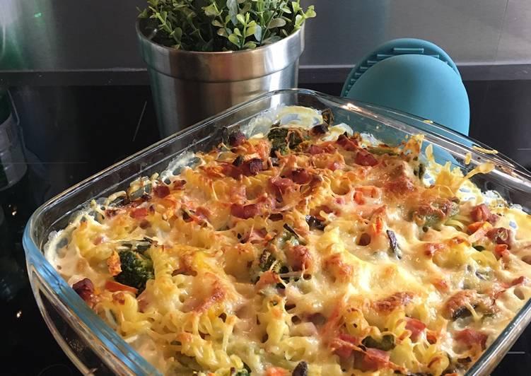 Gratin de pâtes, jambon et légumes wok 💛