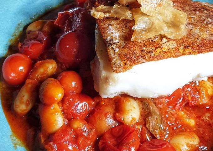 Ndjua Crusted Cod with bean stew
