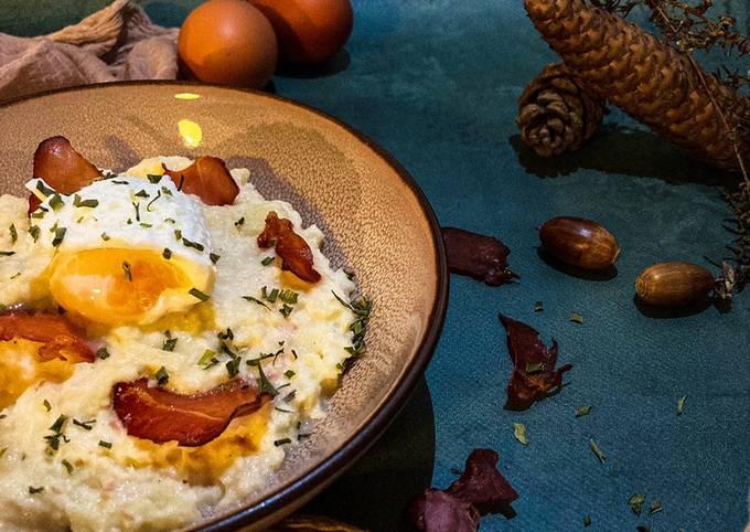 Purée de panais, chips de jambon de parme et œuf poché