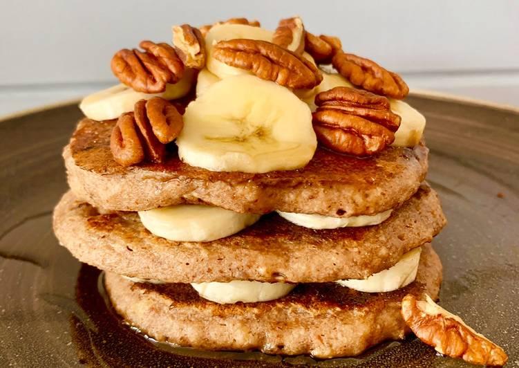 Chocolate, banana and pecan pancakes