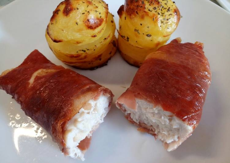 Smoked Scamorza Stuffed Chicken With Potato Stacks