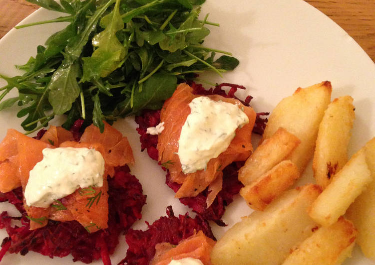 Recipe of Most Popular Smoked Salmon with Beetroot Parsnip Rosti