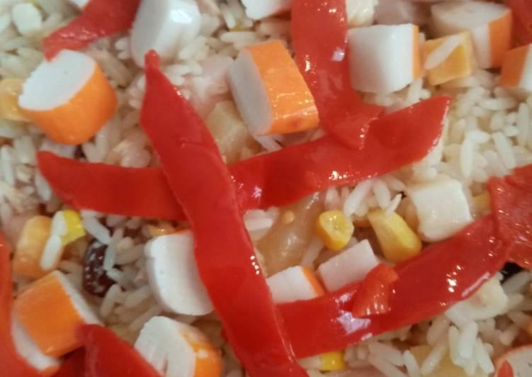Ensalada de arroz con vinagreta de mostaza