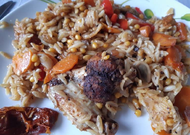 Simple Way to Prepare Speedy Rainbow chicken with orzo