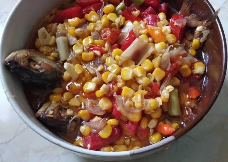 Ikan asin peda tumis jagung