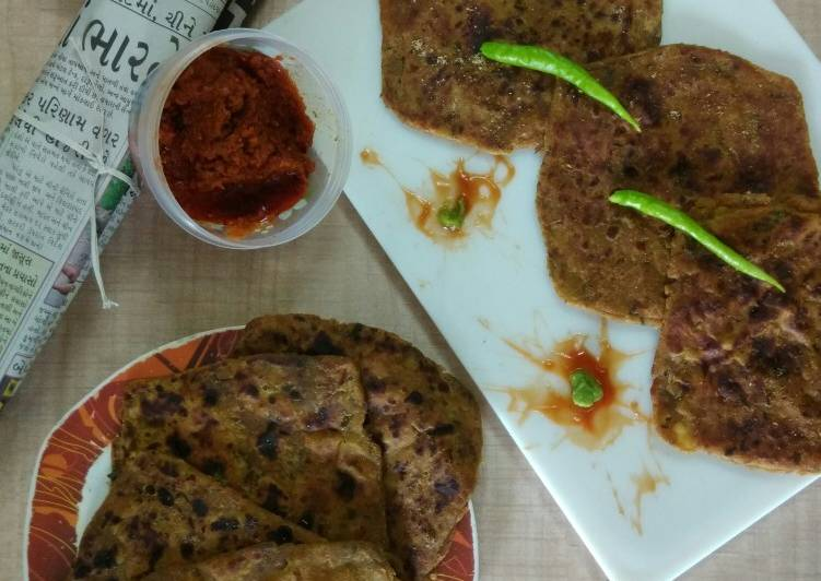 Square Minty Potato-Onion Parathas (From Potato-Onion Sabji)