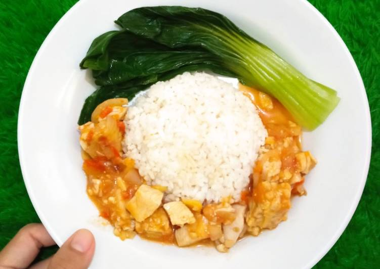 Ayam Tempe Asam Manis (Menu diet no oil, no gluten)