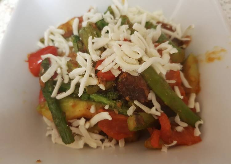 Recipe of Award-winning Avocado, Asparagus tomato with Grated mozarella Dish