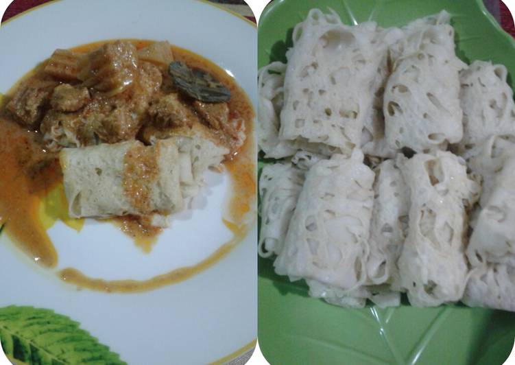 Roti Jala kuah Kari Daging Sapi