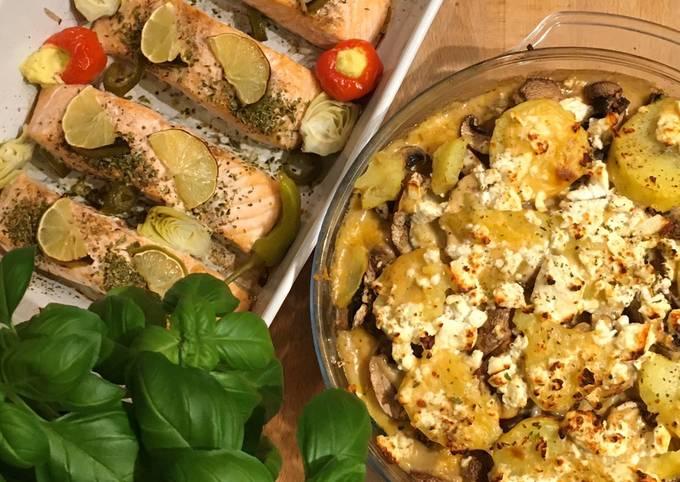 Griechischer Kartoffelauflauf mit scharfem Limettenlachs