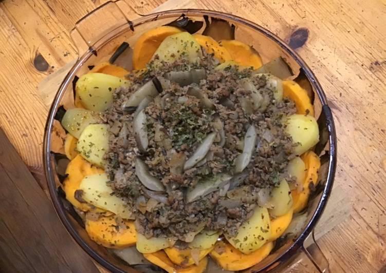 Blettes pommes de terre et patate douce au bœuf et oignon