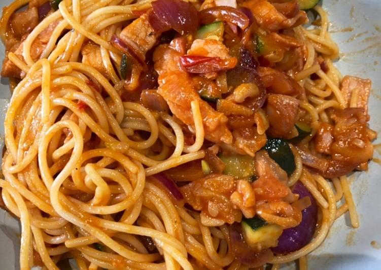 Easiest Way to Prepare Any-night-of-the-week Naporitan(ナポリタン) - spaghetti with ketchup sauce
