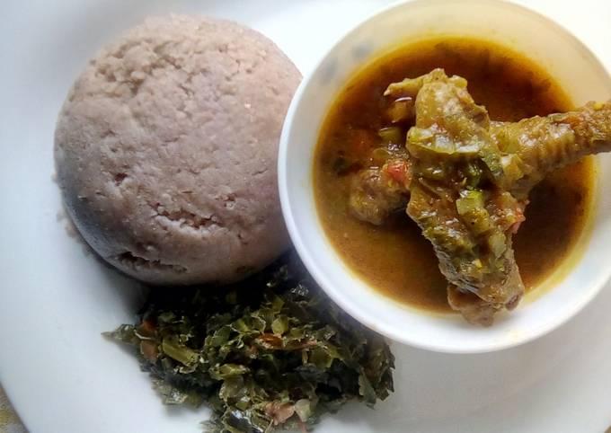 Kuku kienyeji, Ugali & Mboga
