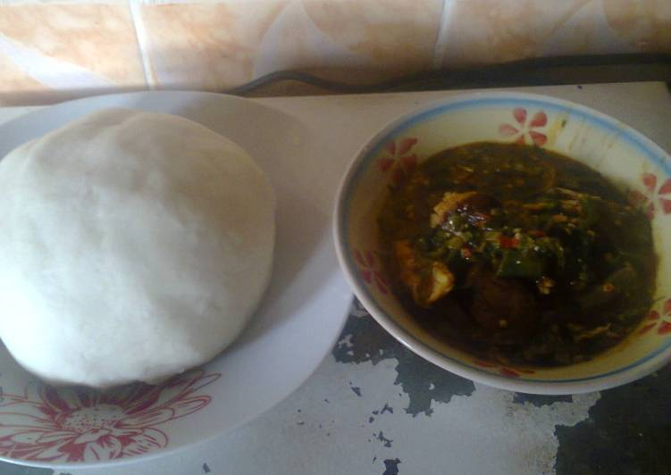 Steps to Prepare Quick Pounded yam and Okro soup