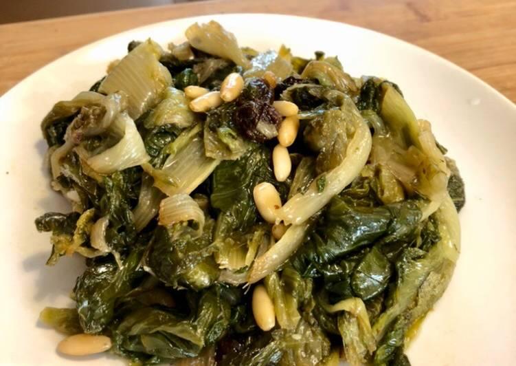 Ricetta Indivia scarola con uvetta e Pinoli #dispensadimarzo