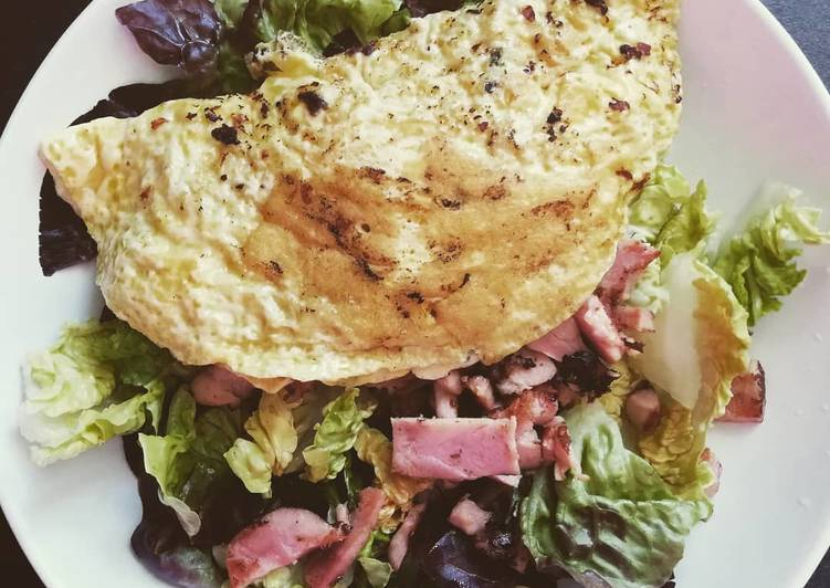 Salade poulet omelette fromage
