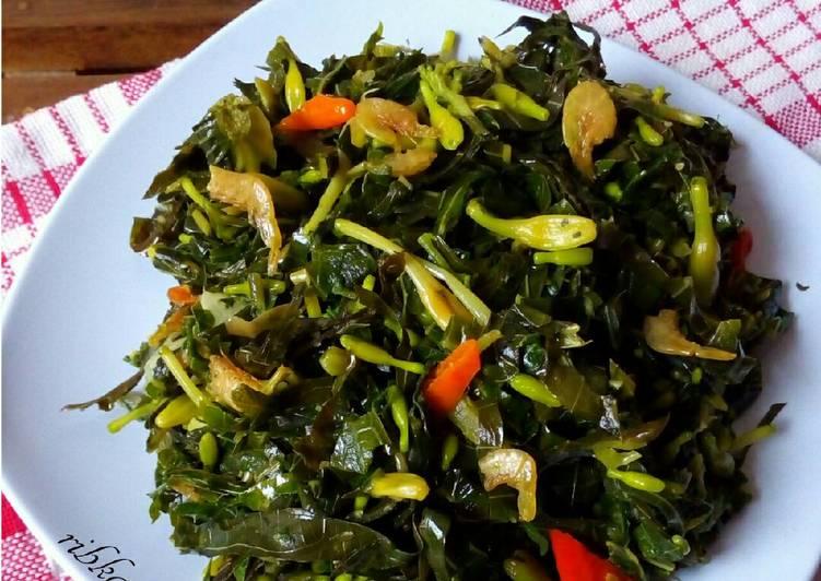 Resep Tumis bunga pepaya, daun pepaya+singkong dgn ebi, no msg ...