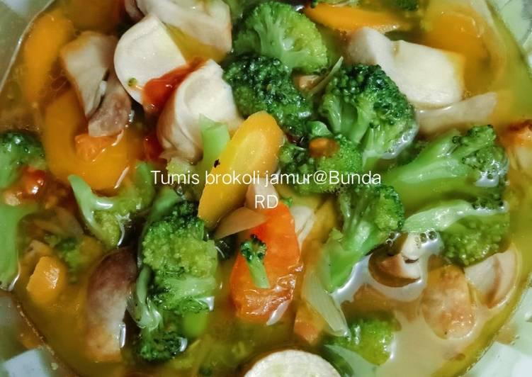 Tumis brokoli jamur