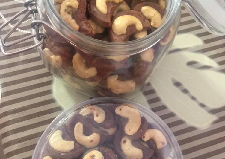 Choco cashew cookies (kukis coklat kacang mete)