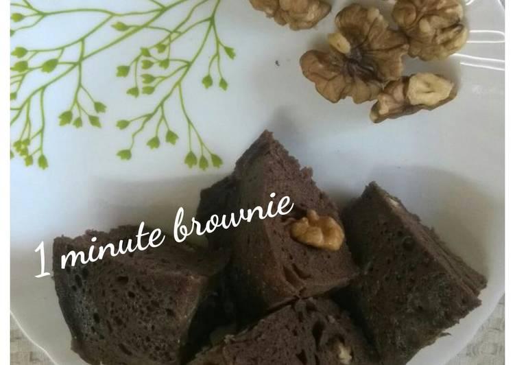 1 minute brownie in microwave