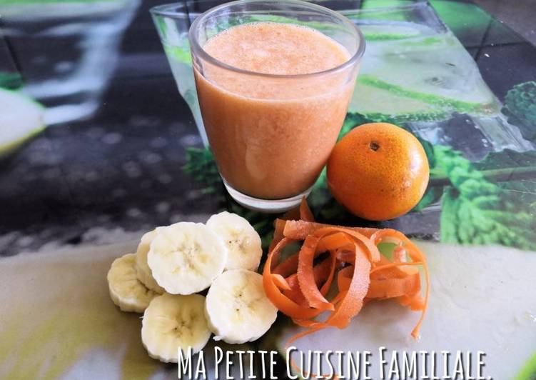 Easiest Way to Make Delicious Smoothie banane, orange (ou clémentine) et épluchures de carotte