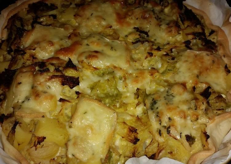 La Délicieuse Recette du Tarte au choux vert frisé gratiné au fromage à raclette !