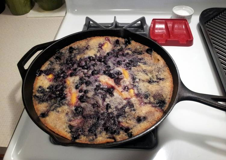 Easiest Way to Make Super Quick Homemade Blueberry & Peach Cobbler (Cast Iron)