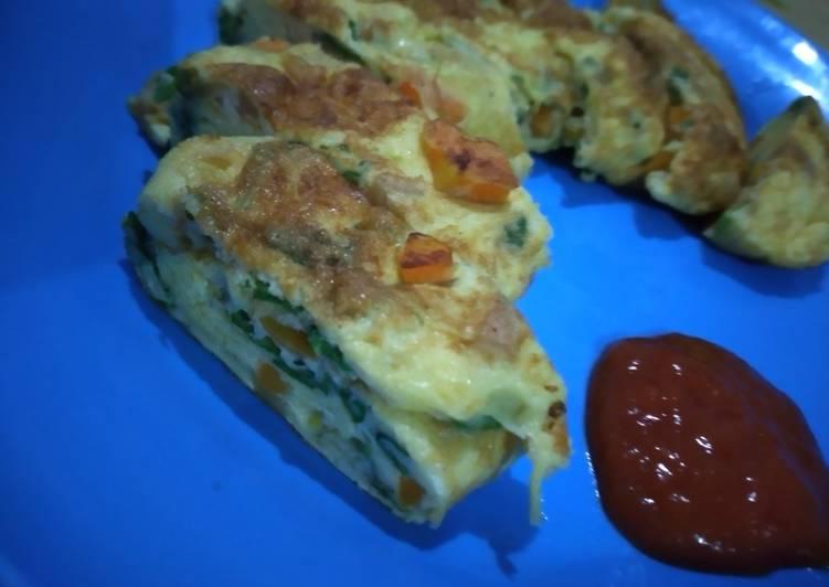Omelette wortel bayam & sosis