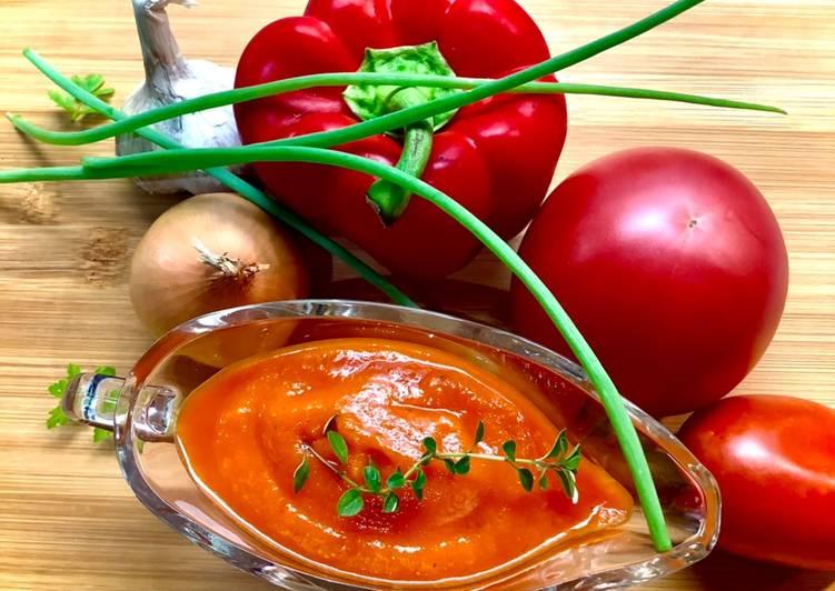 Sos z pieczonych warzyw 2 😉🌱 główne zdjęcie przepisu