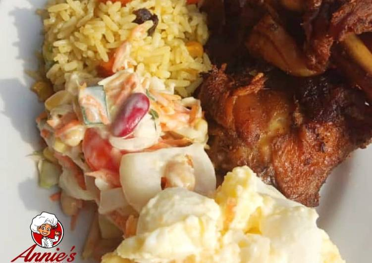 Recipe: Delicious Fried rice,Jollof rice,Fried chicken, Potatoe Salad and coleslaw