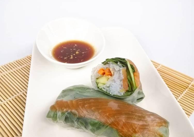 Recettes Rouleau de printemps saumon épinard