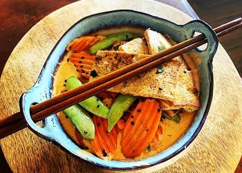 Easiest Way to Recipe Tasty Thai Red Curry Coconut with Pan Fried Tofu Snap Peas  Carrots over Rice